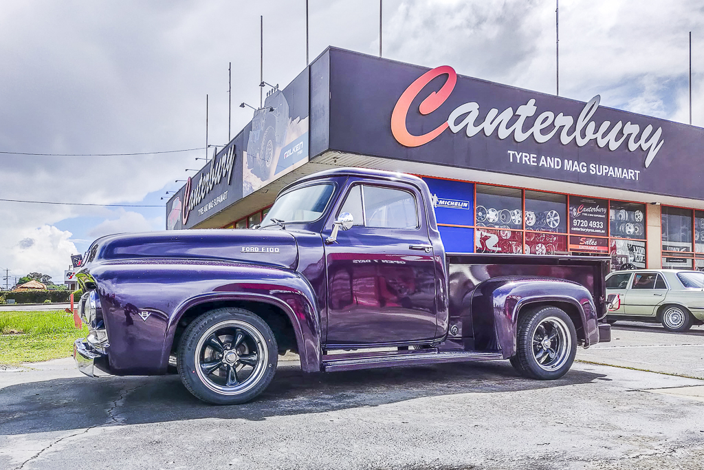 Ford F100 fitted with American Racing Torque Thurst wheels
